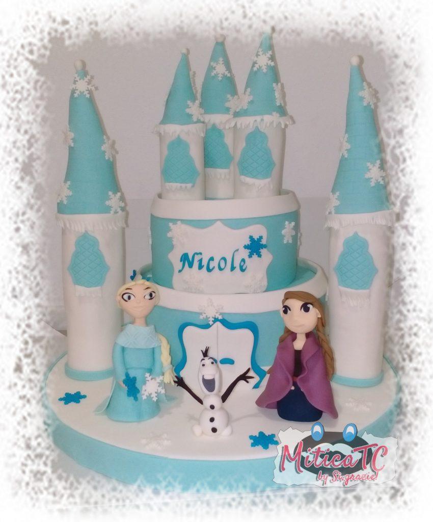 Castello e Personaggi Frozen realizzati in pasta di zucchero a mano