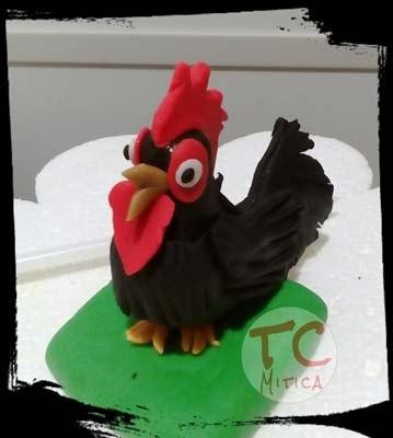 Gallo Ruspante, Gallo nero e rosso, Realizzati a mano per decorare Torte
