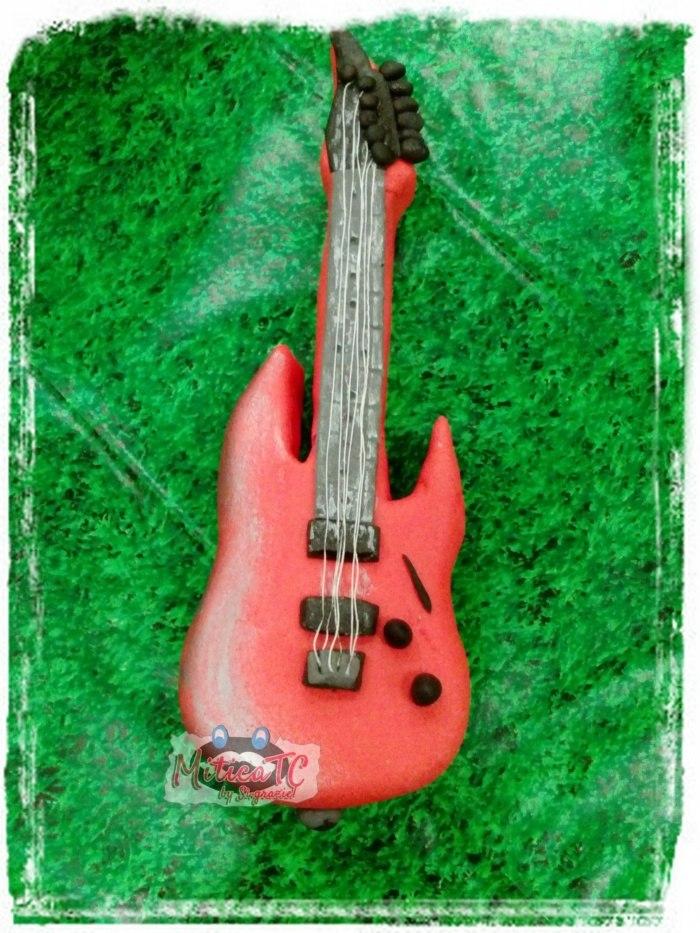 Chitarra Elettrica J. Endrix, Chitarra Rossa grande appena 10 cm in Pasta Di Zucchero