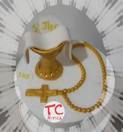 calice e rosario per decorazione torta Prima Comunione