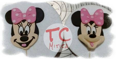 Testa di Topolina alias Minnie bidimensionale da infilzare sulla torta
