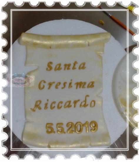 Pergamena Santa Cresima con scritte in oro