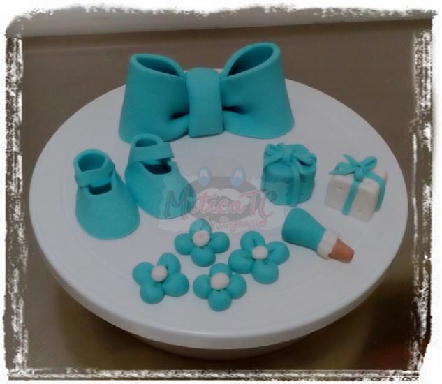 set decori battesimo con fiocco e scarpette