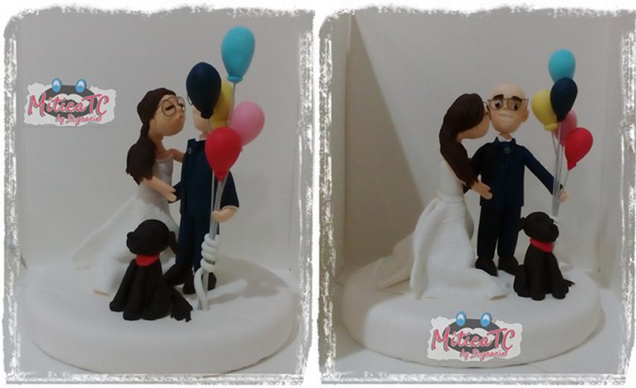 Topper per coppia di Sposi con la loro cagnolina
